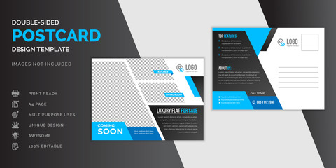 Real estate blue postcard or EDDM postcard design template