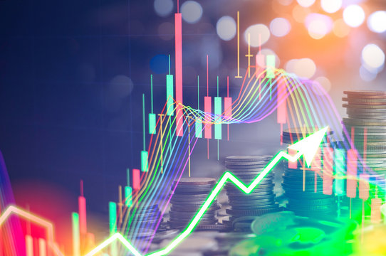 Stock market digital graph chart on LED display concept. A large display of daily stock market price and quotation. Indicator financial forex trade education background.  coins for finance concept