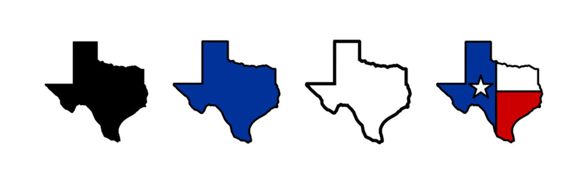 Texas map icons set. Texas map icon. Texas symbol.