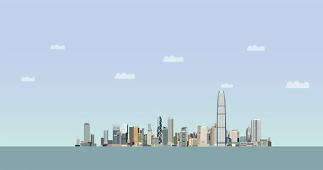 Wall Mural - Hong Kong city skyline buildings appearing animation