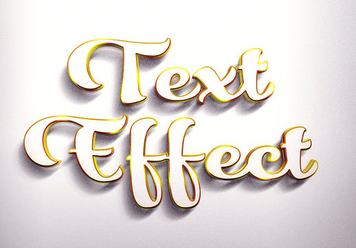 Golden and White 3D Text Effect Mockup