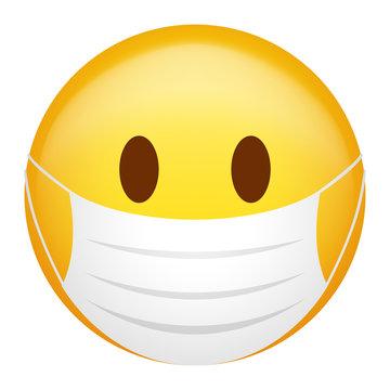 Emoticon wearing medical mask