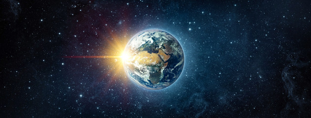 Wall Mural - Panoramic view of the Earth, sun, star and galaxy. Sunrise over planet Earth, view from space. Concept on the theme of ecology, environment, Earth Day. Elements of this image furnished by NASA.