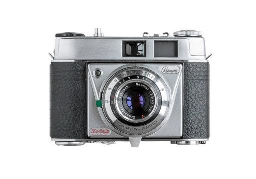 Kodak Retinette vintage 1950s 35mm film camera isolated on white background on April 12, 2020 in Vilnius, Lithuania