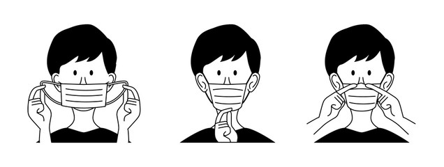 Fototapeta How to wear a mask correct. Man presenting the correct method of wearing a mask, To reduce the spread of germs, viruses and bacteria. Vector illustration