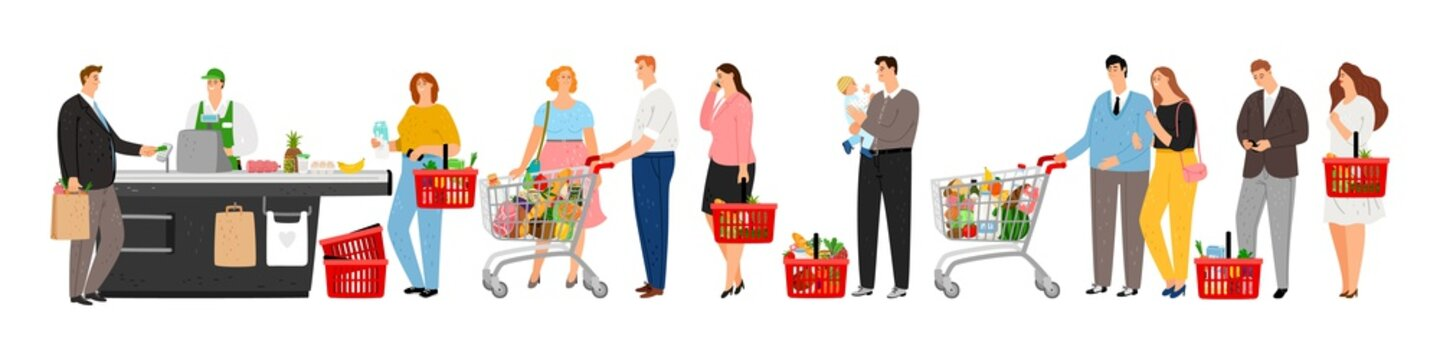 Grocery store queue. Man pay credit card on cash box. People with shopping carts with food in long waiting line vector illustration