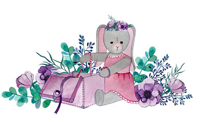Bunny plush in a pink dress. anemone flowers.
