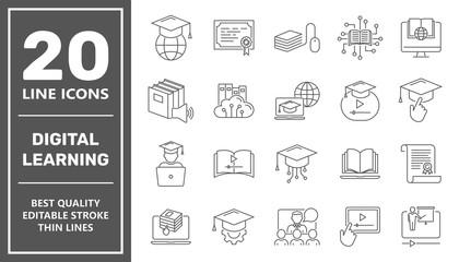 Online education line icon set. Digital learning, remote education concept. Editable Stroke. EPS 10