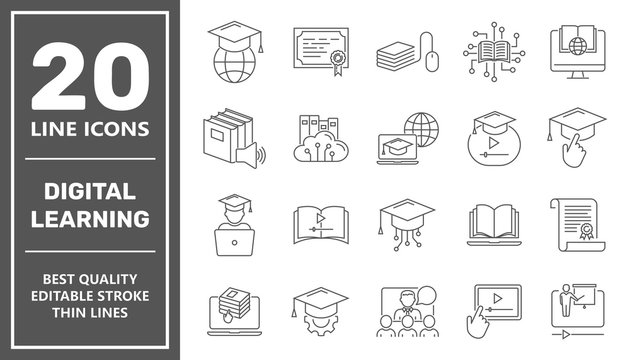 Online education line icon set. Digital learning, remote education concept. Editable Stroke. EPS 10