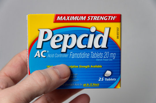 Box of Pepcid AC antacid over-the-counter medicine