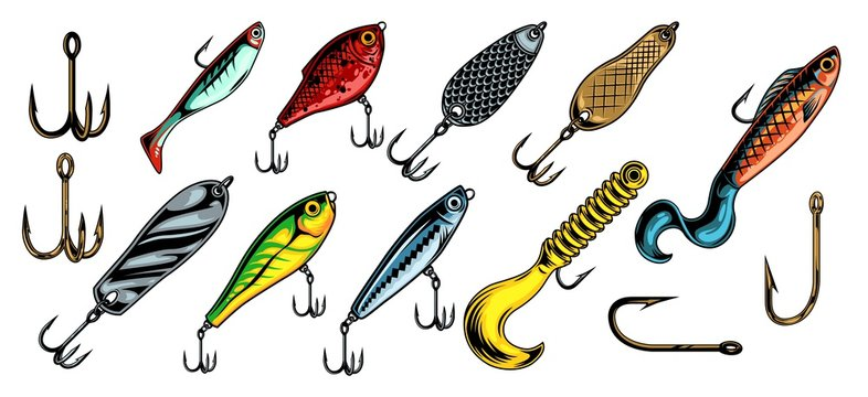 Colorful vintage fishing baits collection