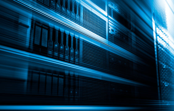 3D rendering big data computing concept in data storage systems, blur in motion, server with hard drives in data center