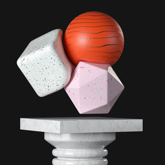 Abstract Soft Body Colorful Object over Marble Pedestal, Stage, Podium or Column. 3d Rendering