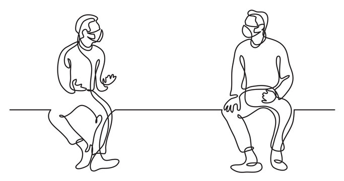 continuous line drawing of two men in protective masks talking practicing social distance