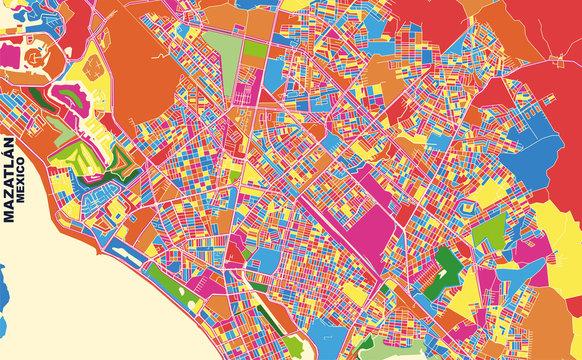 Mazatlán, Sinaloa, Mexico, colorful vector map