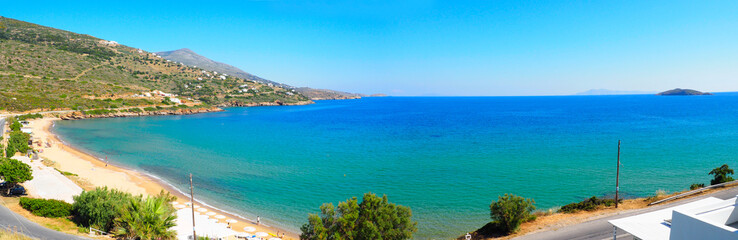 superb panoramic view of Paralia Kipri (Cyprus beach) in Gavrio, on the island of Andros, famous Cyclades island in the heart of the Aegean Sea