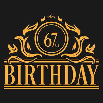 Luxury 67th Birthday Logo illustration vector