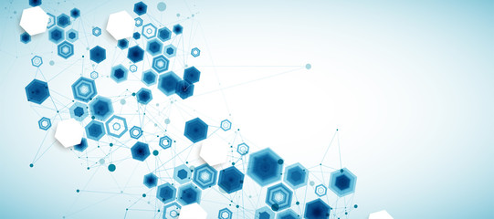 Abstract blue hexagon futuristic background for design works. Science and technology. Fotoväggar