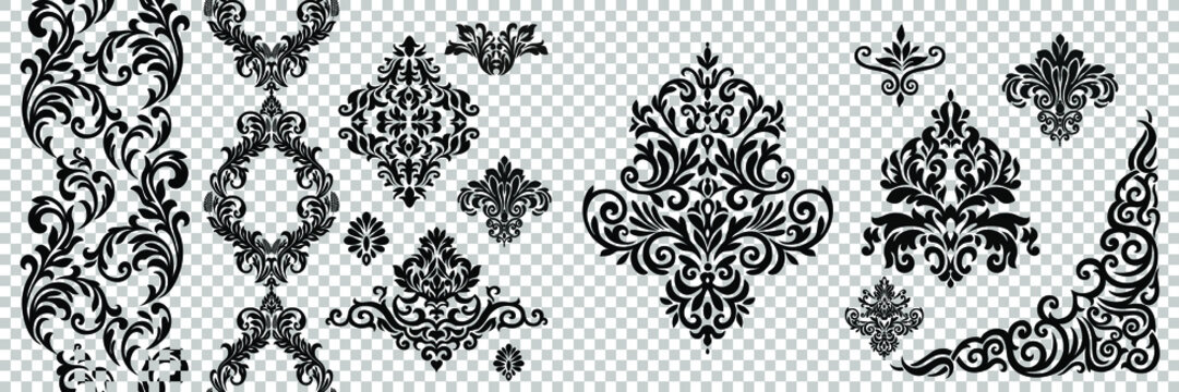 Damask pattern vector element. Classic luxury old-fashioned ornament grunge background. Royal victorian texture for wallpaper, textile, fabric, wrapping. Exquisite floral baroque patterns.