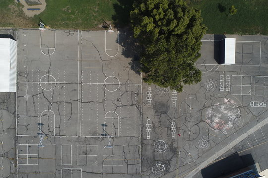 Empty Schoolyard Aerial Look Down Basketball Court School Blacktop Games