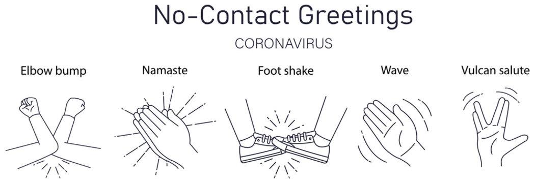 Greeting hit your elbow. Elbow bump. Safe greetings. Methods to prevent transmission of infection, virus, coronavirus, influenza. Coronavirus epidemic protective equipment. No handsh. Flat vector