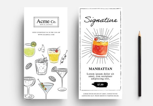 Cocktail Flyer Layout with Watercolour Illustrations