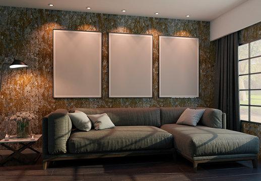 Living Room Vertical Frames Mockup
