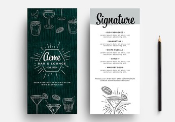 Compact Cocktail Menu Flyer with Drink Illustrations