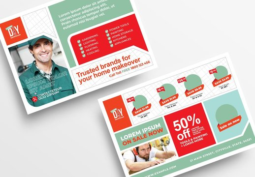 Diy Tool Supply Store Flyer Layout with Construction Theme