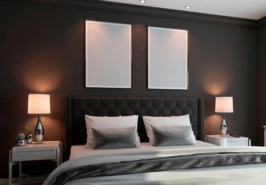 Bedroom Vertical Frames Mockup