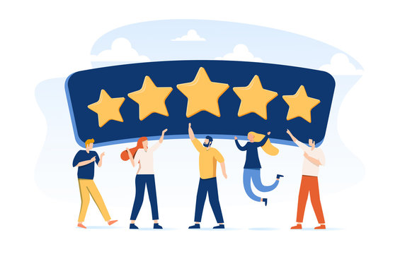 People Characters Giving Five Star Feedback. Clients Choosing Satisfaction Rating and Leaving Positive Review.