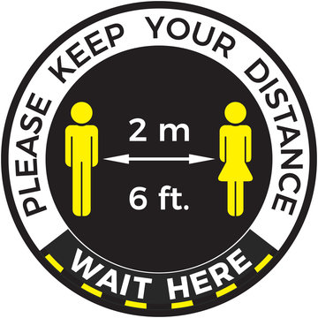 Coronavirus COVID-19 virus social distancing concept. Wait here and Stay six feet or two meters apart. Flat icon vector illustration