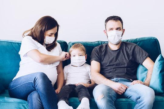 Quarantined coronavirus family in medical masks