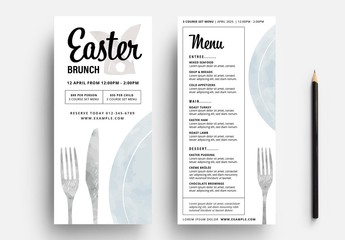 Easter Brunch Flyer Layout with Plate and Cutlery Illustration