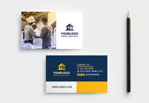 Simple Business Card Layout for Construction Professionals