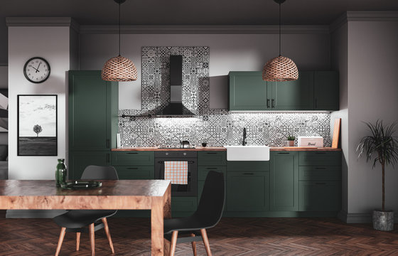 Scandinavian style green kitchen with patterned tiles