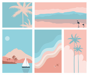 A set of abstract backgrounds.Summer landscape with mountain, sea, boat, Flamingo.Simple flat design.