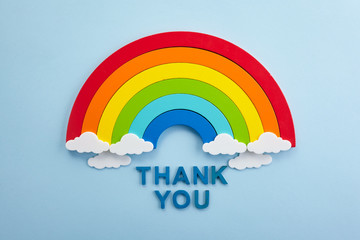 Thank you rainbow banner. Rainbow ob blue background with letters