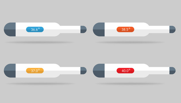 Set of thermometer icons with temperature level on it. 36.6, 37.0, 38.5 and 40 degrees with colors. Isolated medical thermometer with celsius or fahrenheit. Control of health. Vector EPS 10.