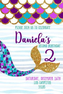happy birthday mermaid card invitation