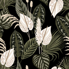 Tropical floral palm leaves, anthurium flower seamless pattern black background. Exotic jungle wallpaper.