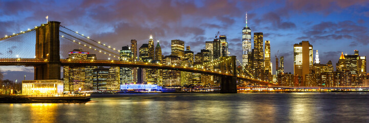 New York City skyline night Manhattan town Panorama Brooklyn Bridge World Trade Center