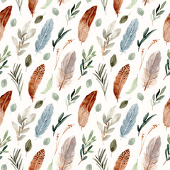 boho leaf and feather watercolor seamless pattern