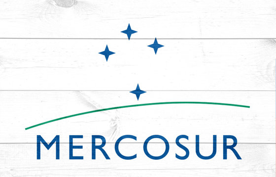 July 16, 2019, Brazil. In this photo illustration the Mercosur soon appears on a flag.