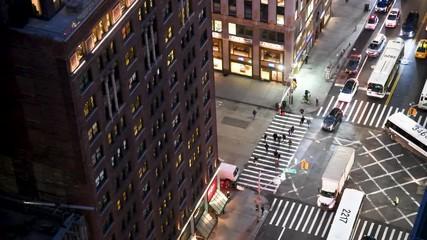 Wall Mural - NEW YORK CITY - DECEMBER 2018: Aerial overhead view of Manhattan night traffic, New York City, USA
