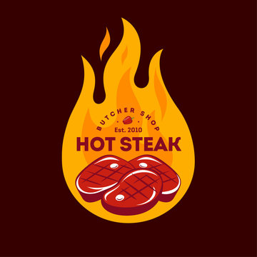 Hot Steak logo. Butcher Shop sign. Grill party logotype. Juicy steaks and fire.