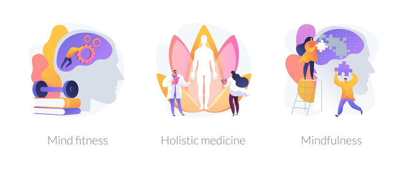 Mental and physical health treatment abstract concept vector illustration set. Mind fitness, holistic medicine, mindfulness, whole body treatment, mental calmness, meditation abstract metaphor.