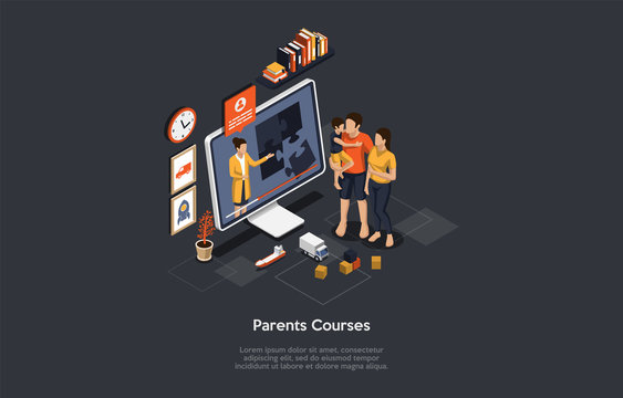 Isometric Online Training Courses For Pregnant And Future Parents. Maternity, Motherhood and Parenting. Family Psychologist Consultation. Lectures for Young Mother and Father. 3d Vector Illustration