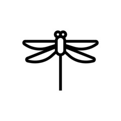 Dragonfly vector icon on white background, dragonfly icon symbol sign in outline, lineart style isolated on white background