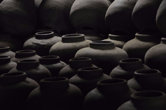 Full Frame Shot Of Clay Pots
